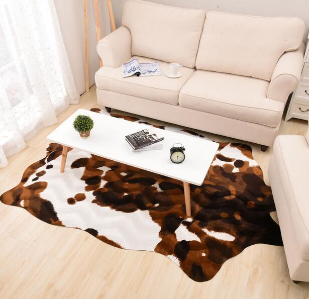 140X200cm Large Size Zebra/Cow Carpet PU Velvet Carpet Imitation Leather Rugs Animal Skins Natural Shape Carpet Decoration Mat