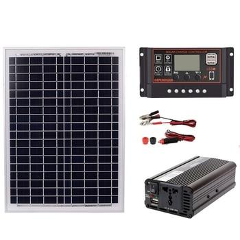18V20W Solar Panel +12V / 24V Controller + 1500W Inverter Ac220V Kit, Suitable For Outdoor And -Home Ac220V Solar Energy-Savin