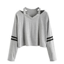 Tshirt à manches longues femme, sweat-shirt col en V, épaules dénudées, bande grise, sweat-shirt court femme haut femme, hauts décontractés, 6.9L3