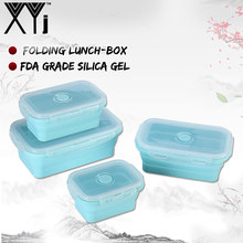 XYj Silicone Collapsible Lunch Box Food Storage Container Bento BPA Free Microwavable Portable Picnic Kids Rectangle Outdoor Box(China)