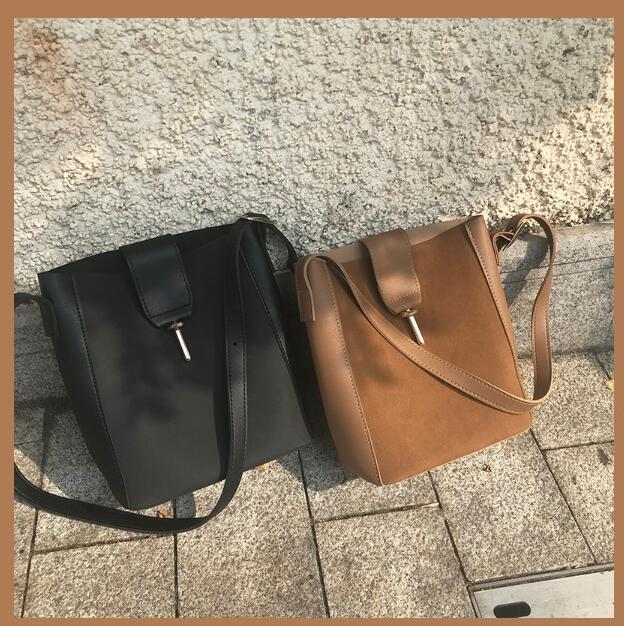 All-Match Bucket Bag Nubuck Leather One Shoulder Women's Handbags Large Capacity Female Bag Sanjiajuu7