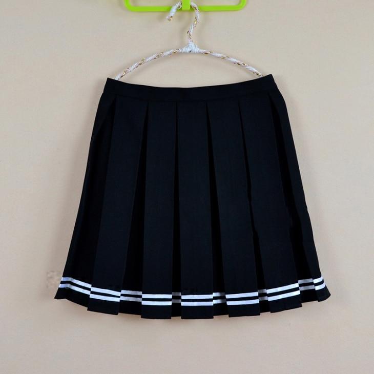 Multi barva Japonský vysoký pas skládaný sukně JK student Dívky pevné skládaný sukně Cute Cosplay školní uniforma sukně XS - 4XL