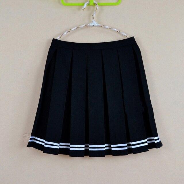 Multi color japonés alta cintura faldas JK estudiante chicas sólido plisado  falda lindo Cosplay uniforme de d8ccfb6f060a