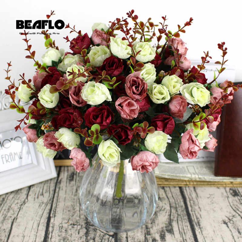 1Bunchสดประดิษฐ์Roseดอกไม้ 21 หัวโรแมนติกDIYผ้าไหมปลอมดอกไม้สำหรับงานแต่งงานหน้าแรกตกแต่ง