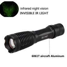 OSRAM Zoomable 10w 940nm IR LED Night Vision Infrared Radiation Focus Gun Lamp  uniquefire 1508 osram infrared 940nm led flashlight 38mm convex lens night vision zoomable torch 3 mode remote pressure switch