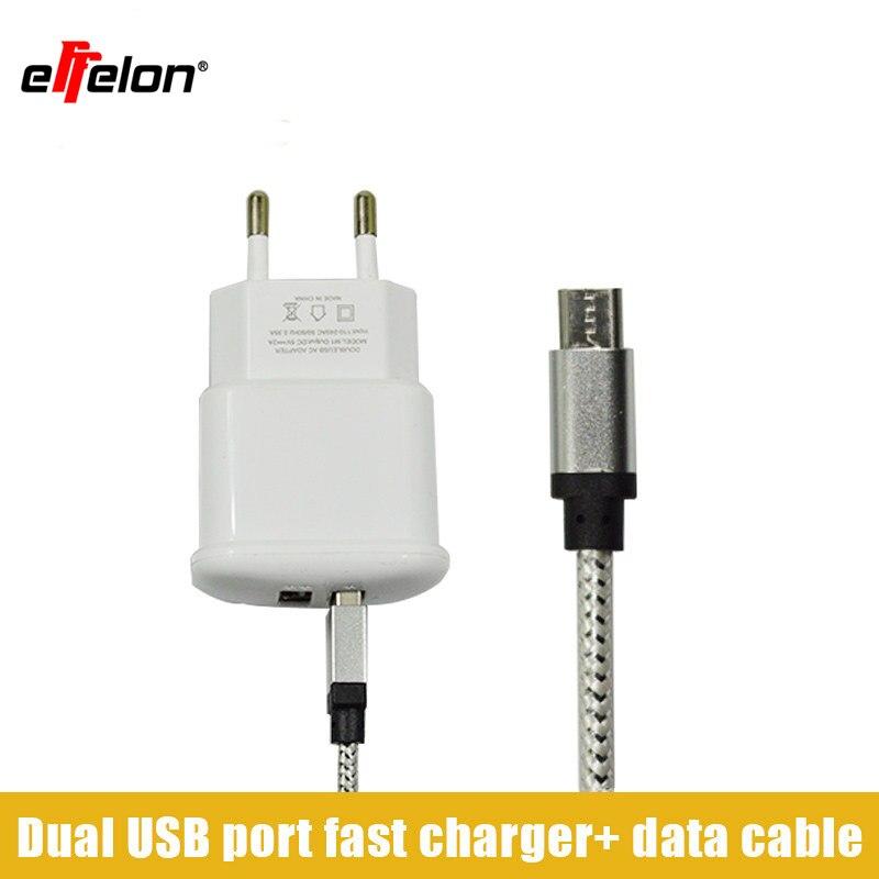 Effelon Dual 2A USB EU Plug Wall Charger Micro USB Cable