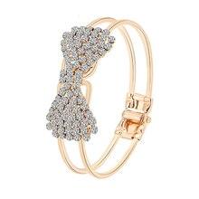 Lemon Value Fashion Luxury Gold Color Bangle Vintage Charms Crystal Rhinestone Bowknot Bracelet Women Jewelry Pulseras D019