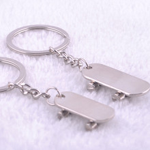 1 Pair High Quality Alloy Smooth skateboard couples Key Ring Love Keychain For Lovers Valentine's Day Gift Keychain 2 pcs/pair(China)