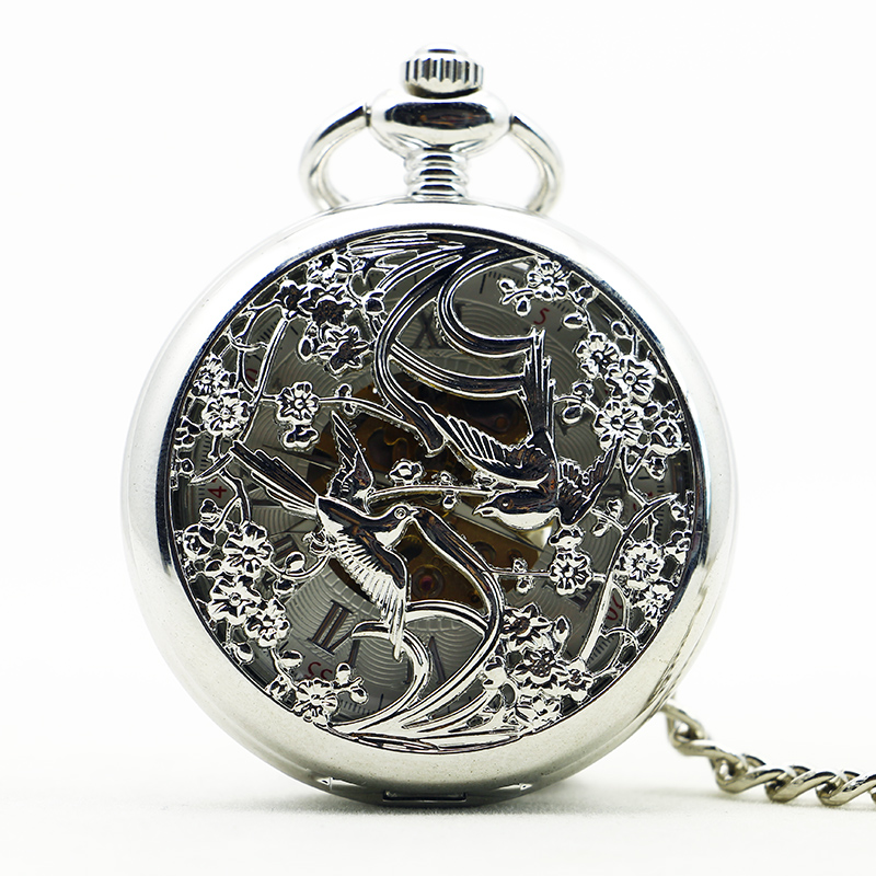 Best Silver Mechanical Pocket Watch Pretty Couples Birds Hollow Carving Fob Chain Clock For Men Women PJX1189