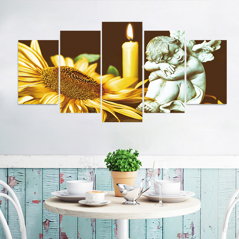 5pcs/set All Saints Day Horror Sunflower Angel Wall Stickers Poster Shop Holiday Waterproof Wallpaper Party Halloween Decor