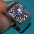 Silver Round Simulated Diamond CZ Side Stone Wedding Ring for Men