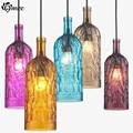 Vintage Personalized Glass Bottle Pendant Lights Colorful Bar Creative Cut Pendant Lamp Indoor Lighting Hanging Ceiling Fixtures