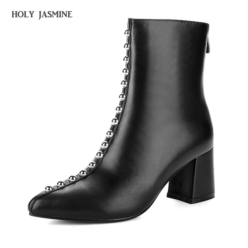 fashion Sexy Rivet High Heels Boots Women Pointed Toe Ankle Boots Genuine Leather Zippe Shoes Woman Autumn Winter Booties Black roni bouker women zipper boots autumn winter snake ankle booties high heels fashion pointed toe ladies sexy shoes 2018 big size
