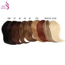 Настоящая красота, прямые человеческие волосы на заколках, китайские волосы Remy для наращивания, челка 20 грамм, натуральный черный цвет, натуральная бахрома