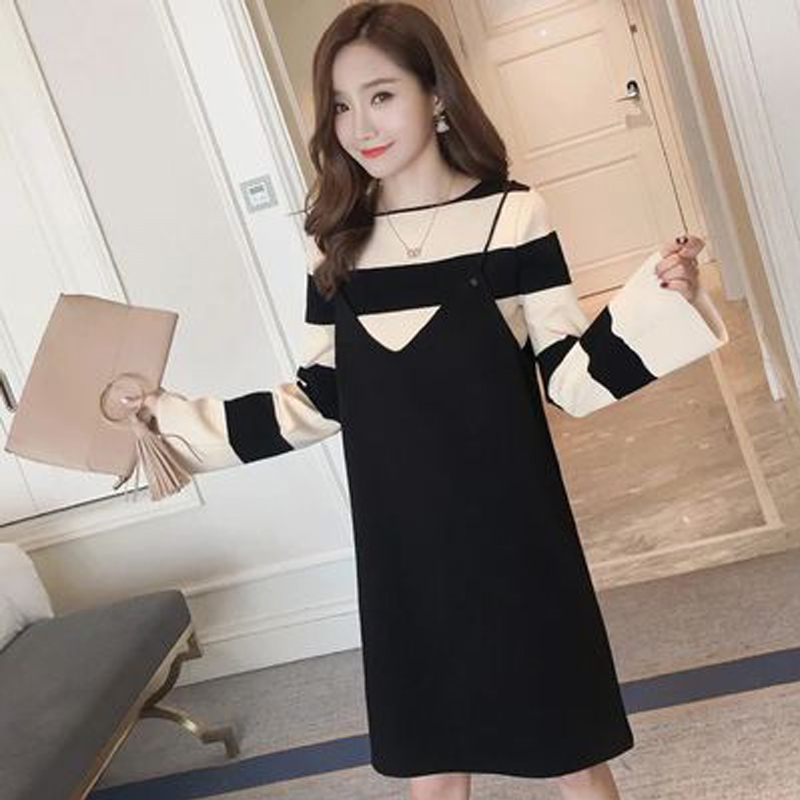 Maternity Clothes Autumn and Winter Loose Long Sleeve Sweater + Sling Two Sets Pregnant Woman Dress Thin Cover Maternity Dresses