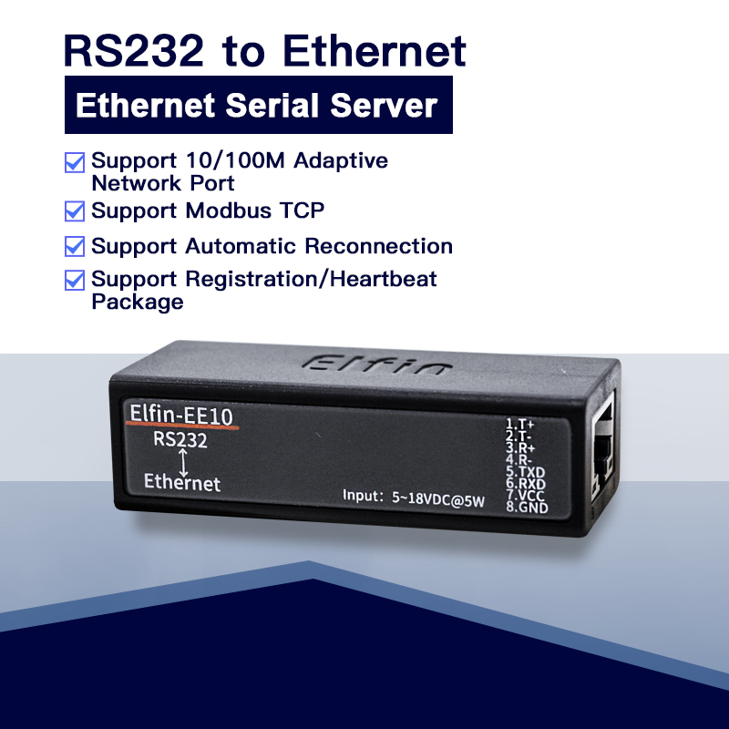 Serial port RS232 to Ethernet serial port device server Elfin-EE10 support TCP/IP Telnet Modbus TCP Protocol Smart Server rs232 serial port to ethernet server two way transparent transmission rs232 serial server