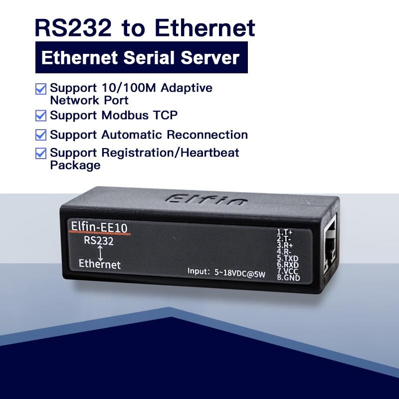 Serial port RS232 to Ethernet serial port device server Elfin-EE10 support TCP/IP Telnet Modbus TCP Protocol Smart Server 10pcs pack ce hf eport e20 freertos network server port ttl serial to ethernet embedded module dhcp 3 3v tcp ip telnet