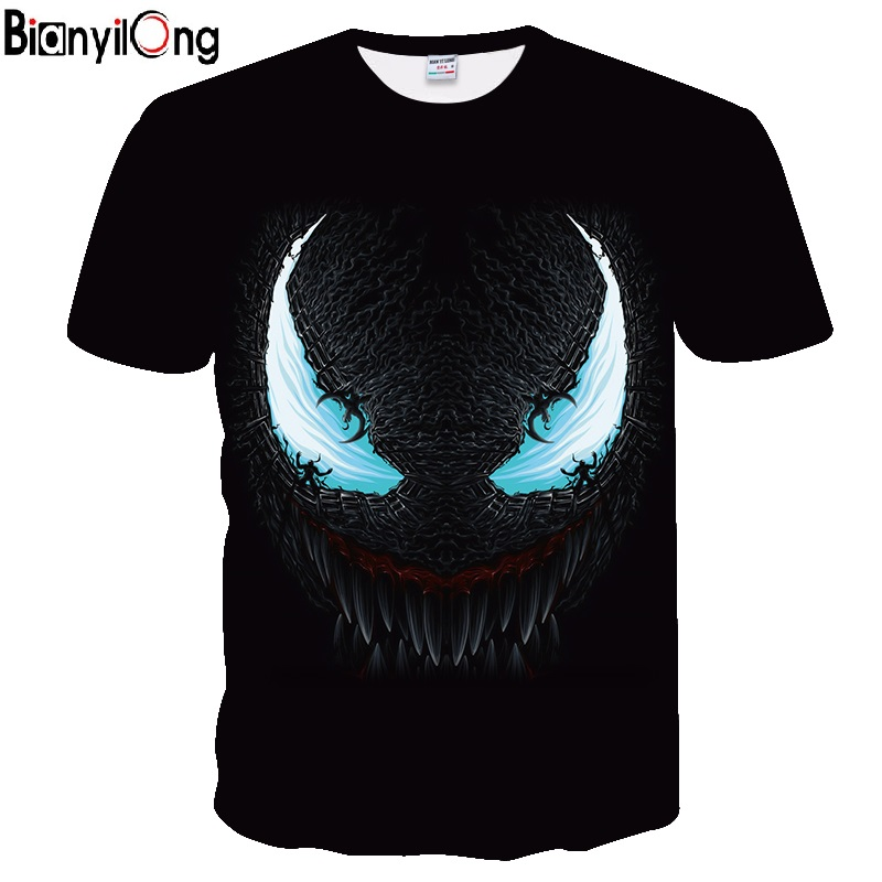 BIANYILONG 2019 NEW Venom 3D Printed T-shirts Men Casual Shirt Short Sleeve Fitness T Shirt Male Tops Weight Lifting Base Layer