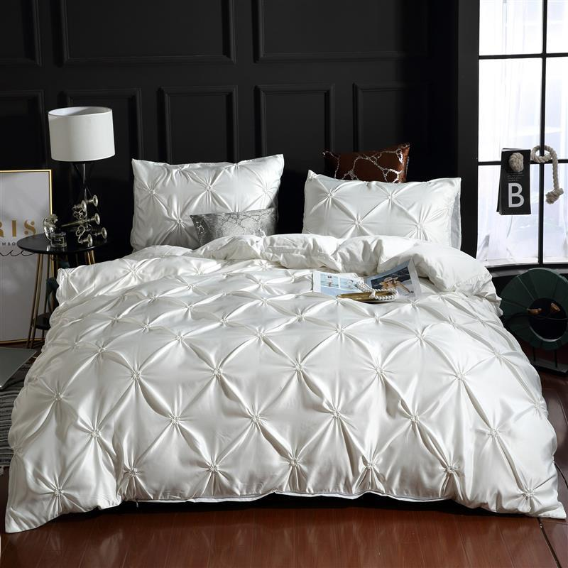 LOVINSUNSHINE Luxury Silk Bedding Set Queen Comforter Bedding Set King Duvet Cover Set UO01# title=