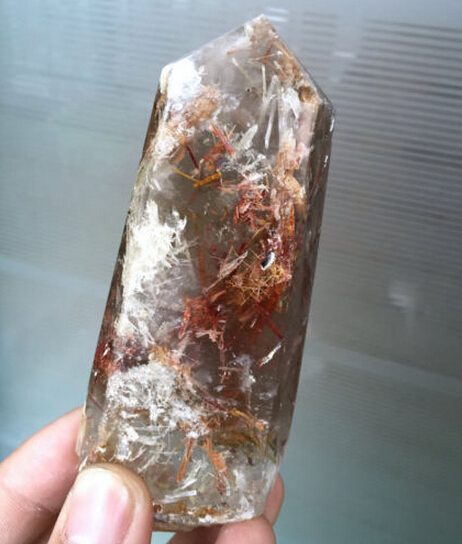 180g +++Rare Natural Red Tourmaline quartz crystal point healing