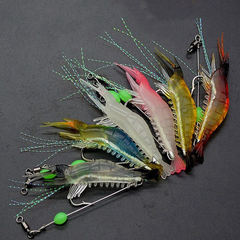 1pcs 8cm/5g Luminous Simulation Prawn Soft Shrimp Floating Shaped Worn Fake lure Hook Isca Fishing Lure Artificial Bait 5pcs box luminous simulation prawn soft rubber shrimp fishing lure floating fake bait fishing artificial hook tackle tool