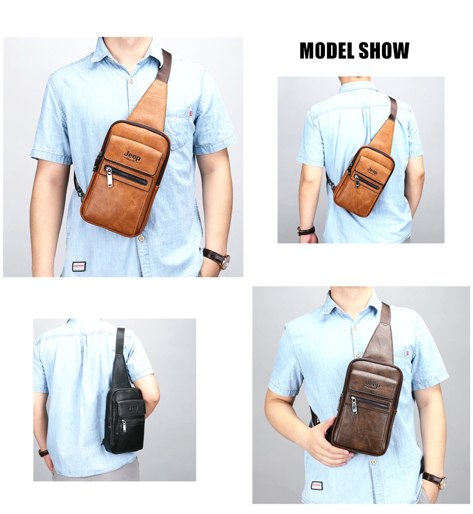 JEEP BULUO High Quality Men Chest Bags Split Leather Large Size Shoulder Crossbody Bag For Young Man Famous Brand Sling Bags