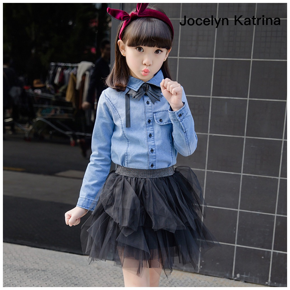 ФОТО Jocelyn Katrina Fashion Girls Children's Wear Korean Cultivate One's Morality Design Cowboy Clothing Two Pieces Clothing Sets