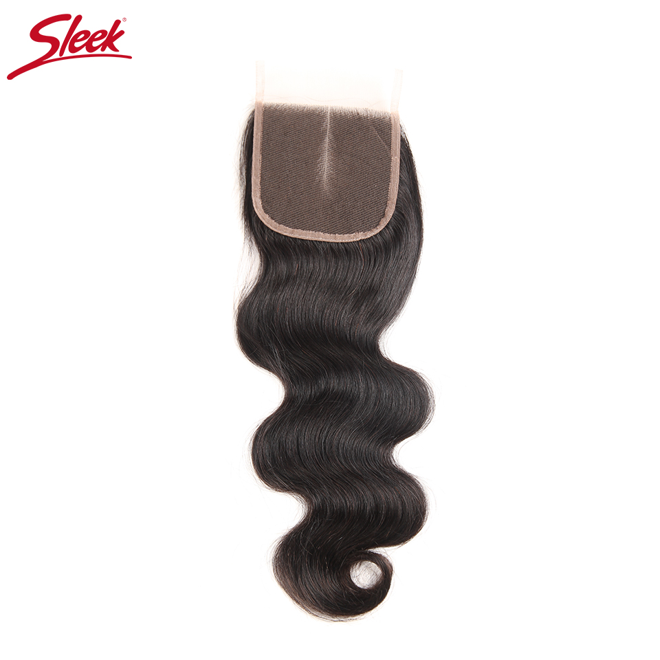 Sleek Brazilian Body Wave 4x4 Lace Closure 100% Remy Human Hair Natural Color Free Middle Three Part Top Closures 8 to 20 Inch ...