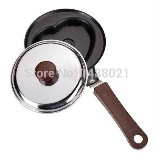 1 Pcs Frying Pan Healthy Nonstick Stainless Steel Skillet Love Heart Shape Mini Egg Fry Pans with Cover