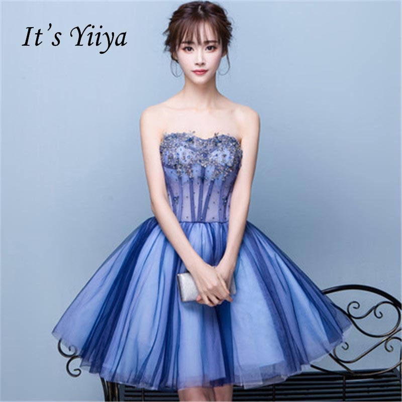 It's YiiYa Sexy Blue Beading Tulle Floral Flowers Backless Lace Up   Cocktail     Dresses   Knee Length Formal   Dress   Party Gowns LX054