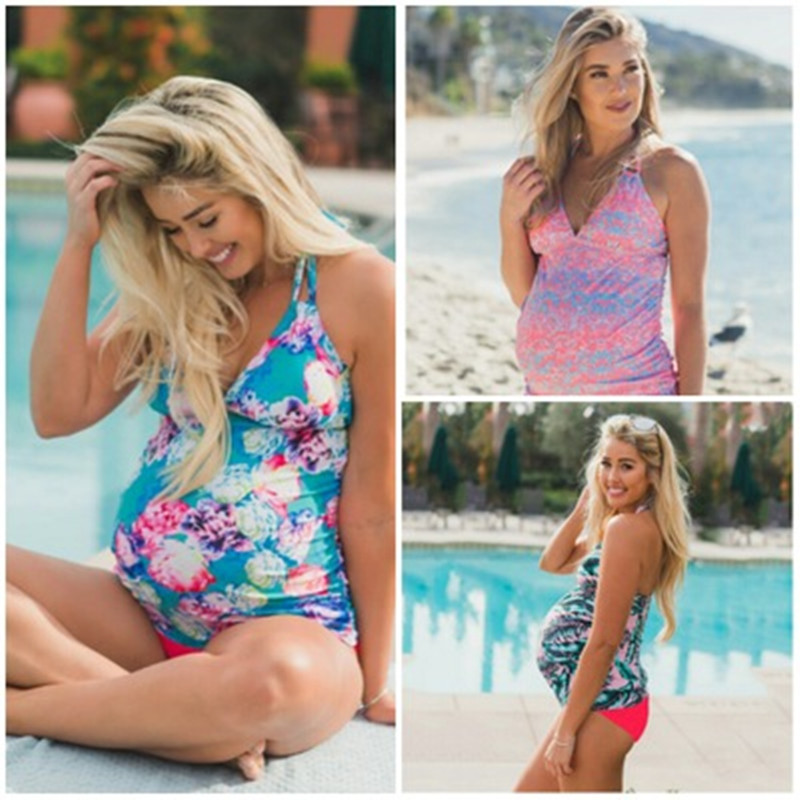 04609eb1ecb03 New Maternity Women Swimwear Floral Print Pregnancy Swimsuit Suits Beach  Summer Bikini Bathing Sexy Clothing For Pregnant Women