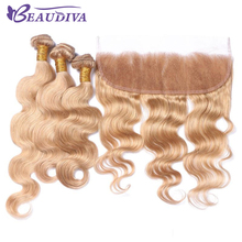 BEAUDIVA Pre-Colored Blonde Brazilian Body Wave 3 Bundles Bundles With Frontal Closure 13×4 Lace Frontal Remy Human Hair Weave