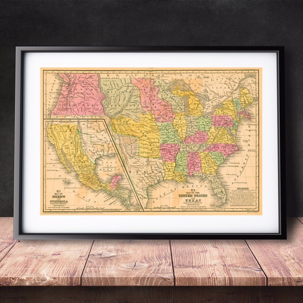 Country And City Old Map Canvas Art Print Painting Poster Wall ...