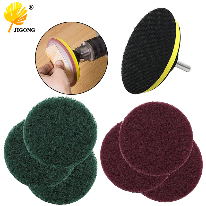 8pcs /set 4 Inch Self-adhesive Disc & Drill Rod For Car Paint Care Polishing Pad 100mm + 8mm Rod