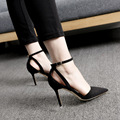 2017 Concise Nude Suede High Heels Gladiator Sandals Women Ankle Strap Summer Dress Shoes Woman Open Toe Sandals Sexy Pump Black