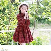 Fashion Autumn new girls Korean children's clothing red plaid big swing dresses big girls long sleeve plaid dress