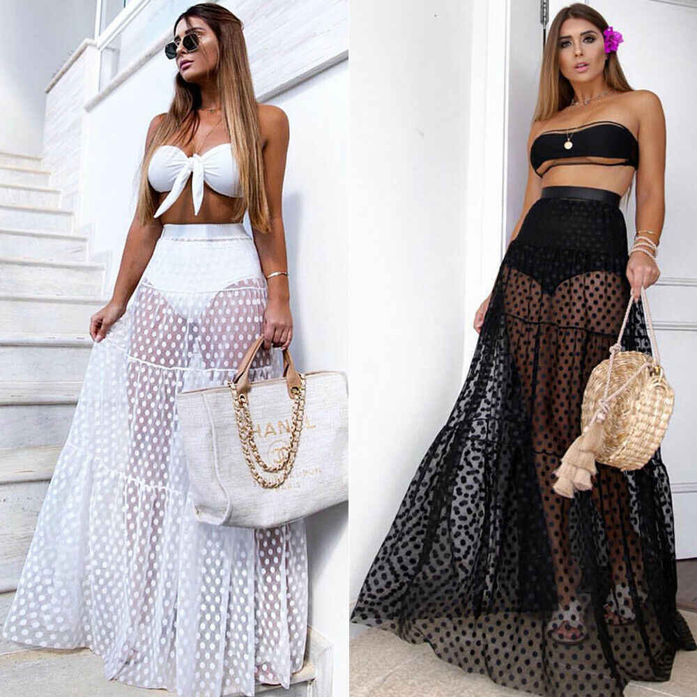 Frauen Sexy Rock Hohe Taille Dot Sommer Transparent Lange Maxi Rock