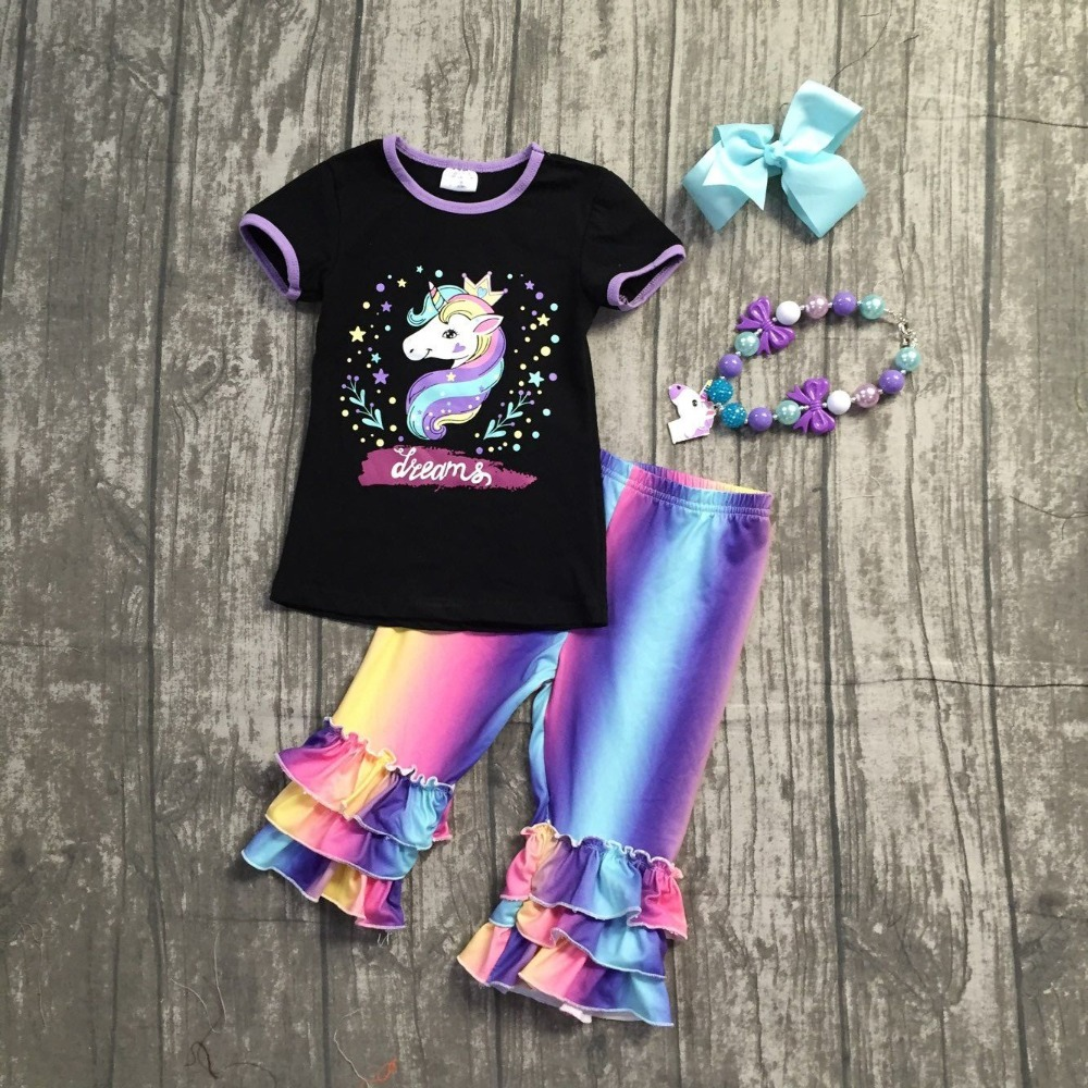new 2018 Summer outfit black dreams unicorn short sleeve baby girls ruffles boutique clothing capris with matching accessories halloween orange petal pettiskirt with matching white long sleeve top with orange ruffles