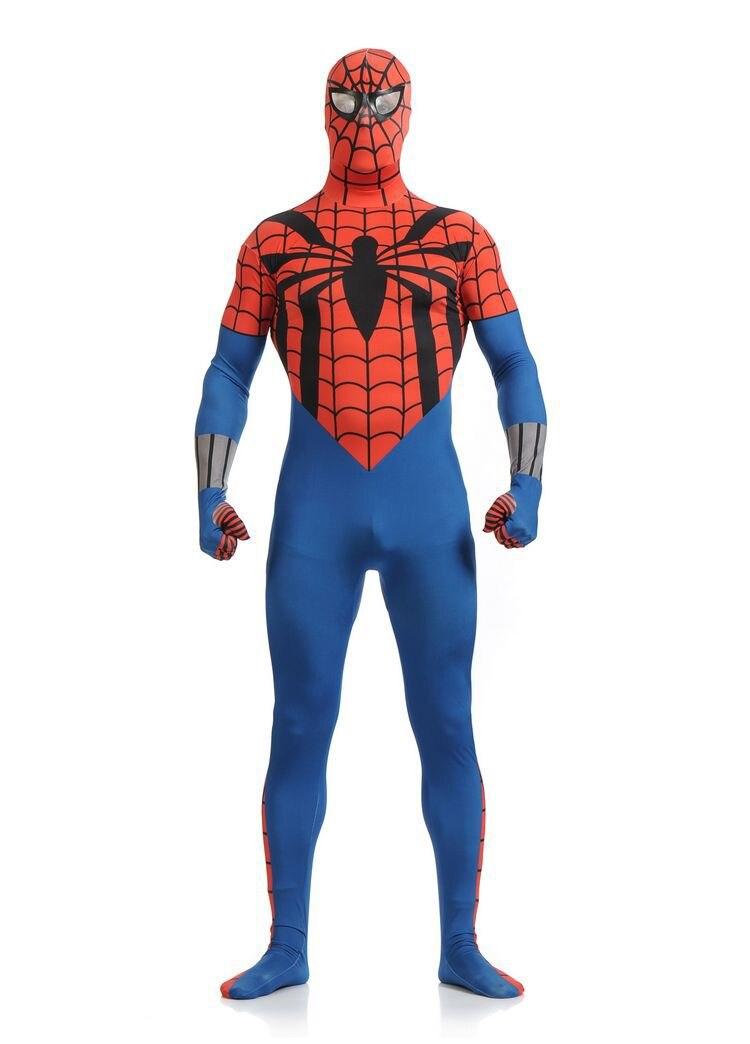 (SN829)) Quality Unisex Adult <font><b>Full</b></font> <font><b>Body</b></font> <font><b>Red</b></font> <font><b>and</b></font> <font><b>blue</b></font> <font><b>Lycra</b></font> Spandex Superhero Cosplay <font><b>Spiderman</b></font> <font><b>Zentai</b></font> Suits Halloween Costume