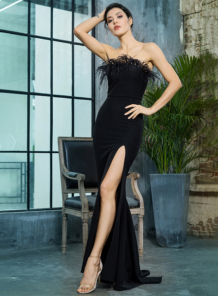 Black Strapless Cut Out Feather Long Dress 6