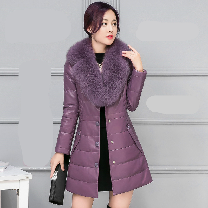 plus size Women Coat Fox Fur collar Button Decoration Long Sleeve Thick Warm   Leather   Coats Down Parkas Jackets 9 COLORS M-4XL