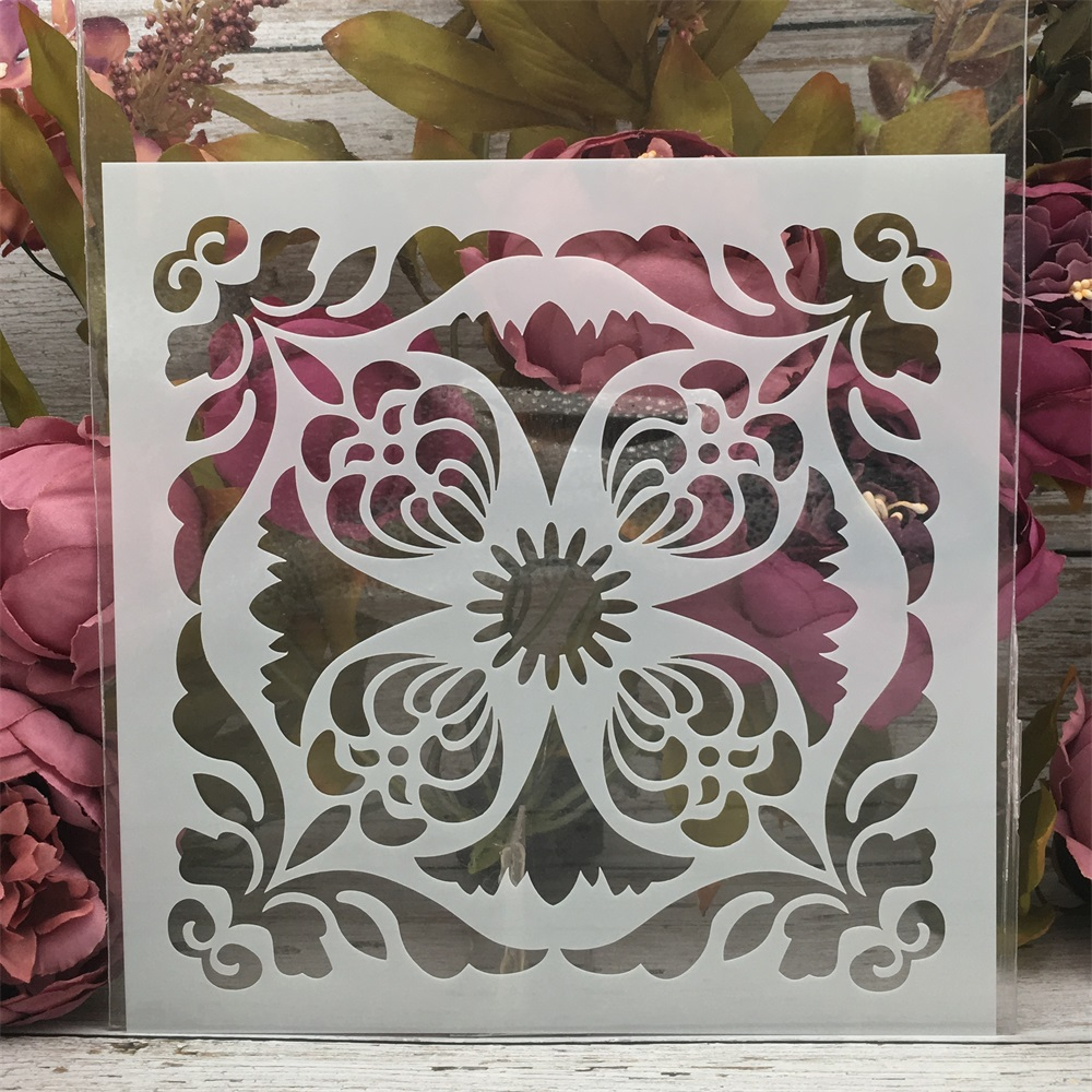 20*20cm Flower Round Frame DIY Layering Stencils Painting Scrapbook Coloring Embossing Album Decorative Template