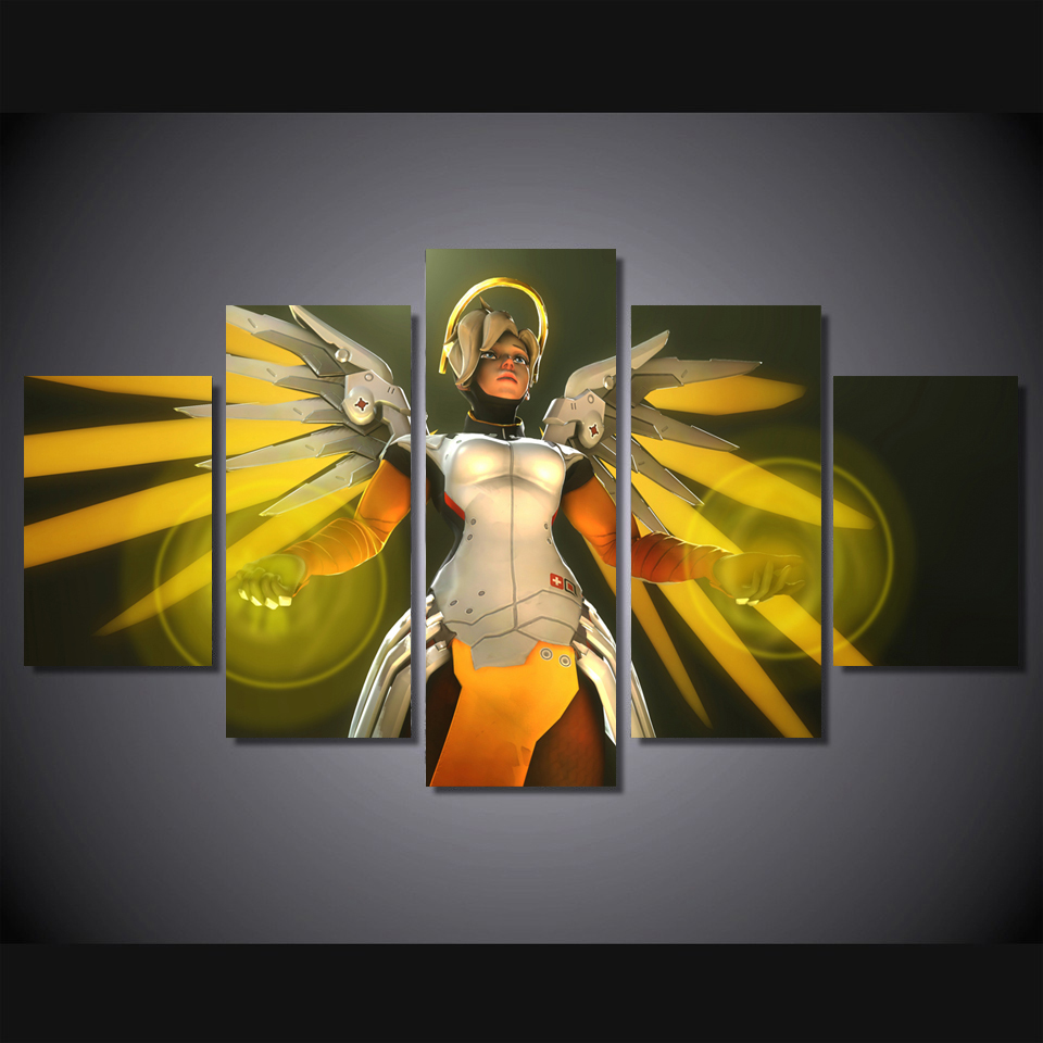 Mercy overwatch 4K canvas printing Wallpapers game poster Living ...