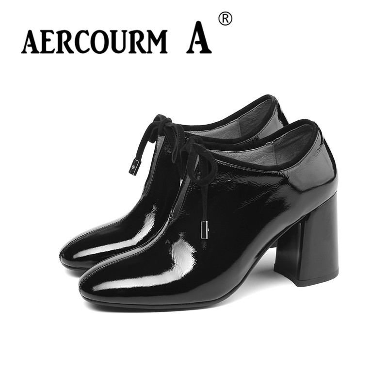 Aercourm A 2019 femmes chaussures à lacets peau brillante dame chaussures en cuir verni carré talon haut pompes nouveau printemps noir vin-rouge chaussures - 2