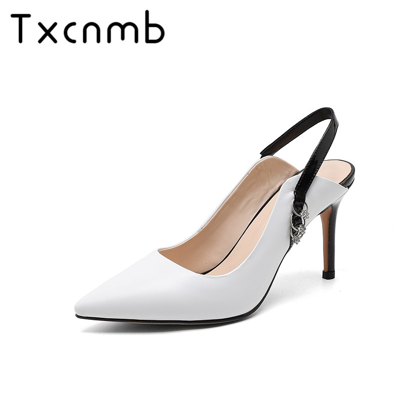 TXCNMB Shoes Woman 2019 Wedding New Fashion Slingback Sandals Comfortable Thin Heel Sexy Pointed Toe Shoes