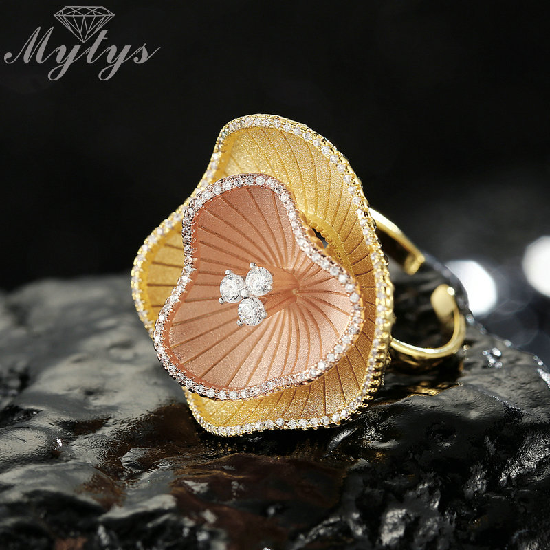 Mytys Brand Vision Design Aqua Sandblasting Frosted Metal Flower Ring For Women Elegant Wedding Party Two Tone Gold Rings R2030