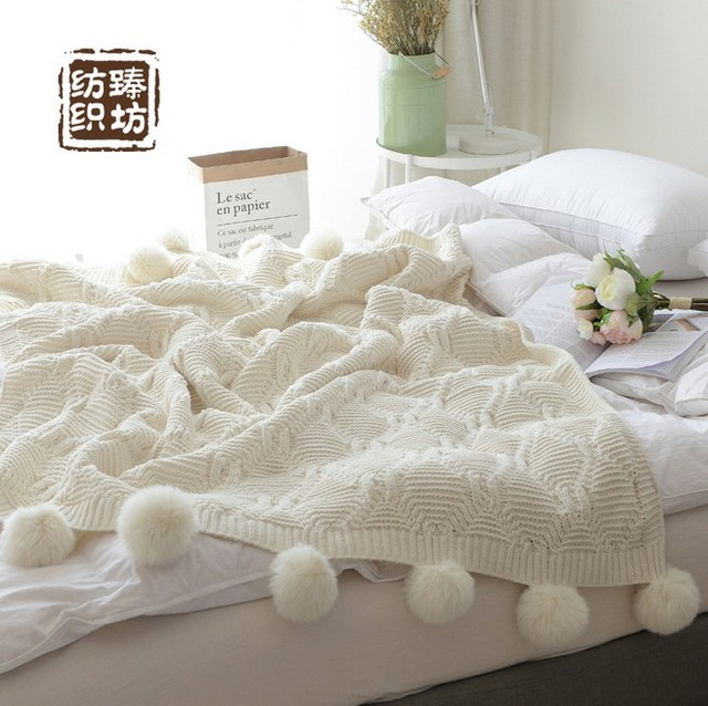 Free Shipping White Color Ball Blanket Knitted Crochet Blanket Mat