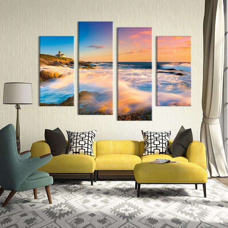 Sin marco 4 UNIDS hermosa playa casa de Pared decorativos pintura ...
