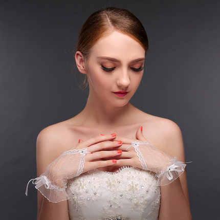 WOW HOCHZEITS Kurze Brauthandschuhe Weiß und Rot Fingerlose Hochzeit Handschuhe