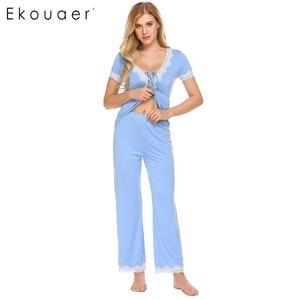 Image 3 - Ekouaer Women Casual Pajamas Set Loose Short Sleeve Sleepwear Lace Patchwork Elastic Waistband Solid Pajamas Set Female Nighties